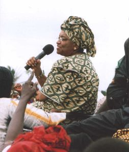 Ellen Johnson-Sirleaf campaigning in Monrovia, Liberia in 2005, shortly before she was elected.