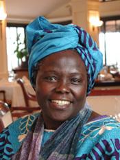 Wangari Maathai portrait by Martin Rowe